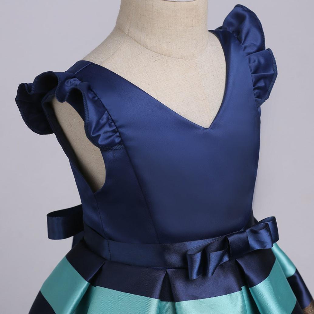 UOMOGO/® Bambine Senza Maniche Principessa Abiti Eleganti Bambina Partito Compleanno Comunione Swing Vestiti da Cerimonia 3-10 Anni