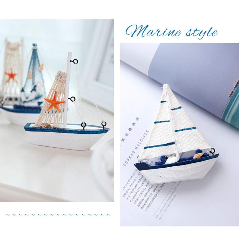5 Sailing Boat Model Retro Children Home den Mediterranean Style Toys Mini Furnishing Gift Props Office Nautical Decor Bedroom