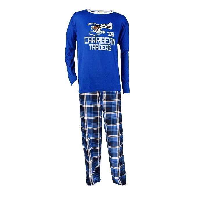 Pijama de franela para hombre, color azul azul extra-large