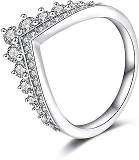 Co & Lacodier Anello in Argento Sterling 925 Donna, Cubic Zirconia Cristallo Principessa Wishbone Engagement Lady Girl Jewelry