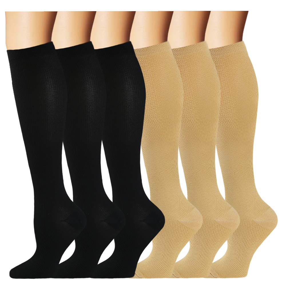 Compression Sock for Women & Men (6 Pairs)- Best Medical for Running, Athletic Sports, Crossfit, Fitness(L/XL) by Iseasoo