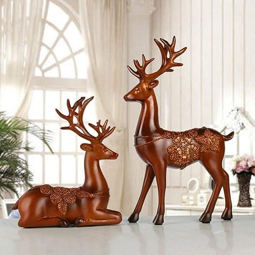 NIYAOJIANFEI Escultura Animal,Brown Deer Resina Esculturas Estatuas De Animales para La Decoración Salón Dormitorio Jardín Home Armario Bodega Decoración Accesorios De Escritorio: Amazon.es: Hogar