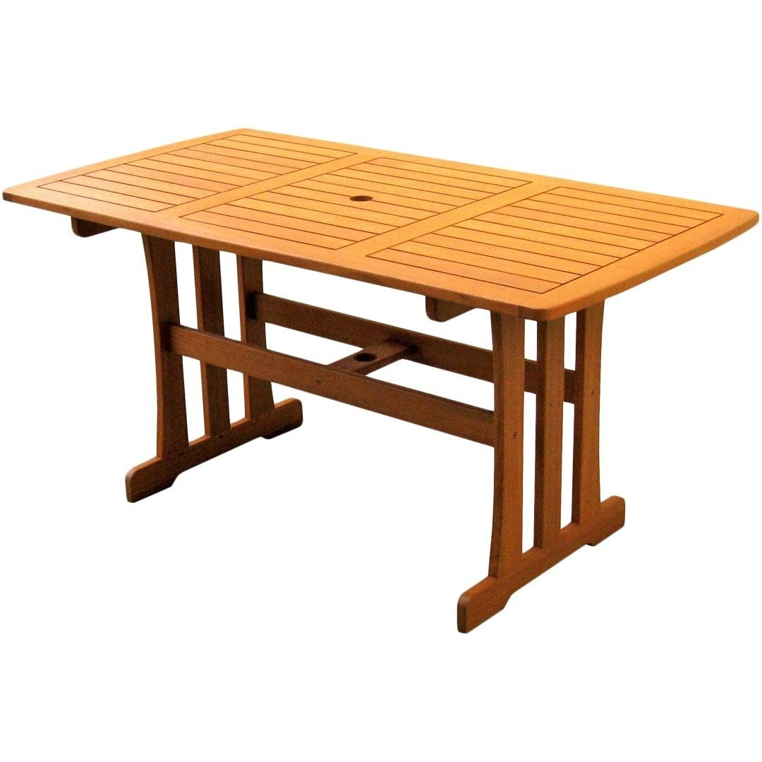 Amazon com 14th mobility all weather wooden 59 outdoor patio dining table made from wood construction brown color expert guide garden outdoor