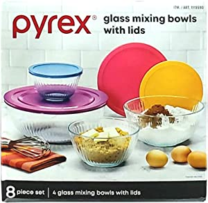 Pyrex 8 Piece Glass Mixing Bowl Set - 4 Glass Mixing Bowls and 4 Lids (Lid Colors May Vary)