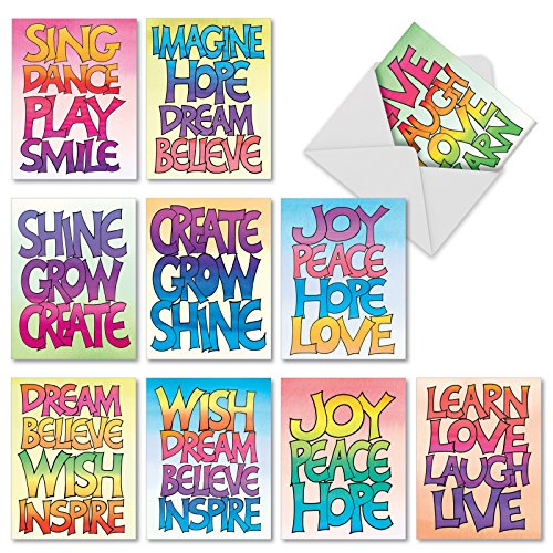M3317 Word Stacks: 10 Assorted Blank All-Occasion Note Cards Featuring Colorfully Illustrated Inspirational Words, w/White Envelopes.