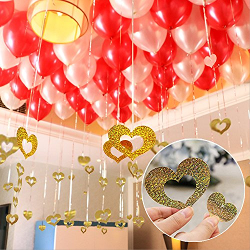 PROPARTY Silver Foil Fringe Tassel Curtain & Gold Heart Shaped Cutouts Confetti Balloon Pendant Hanging String for Birthday Wedding Anniversary Party Decorations 100 PCS, Silver, Gold