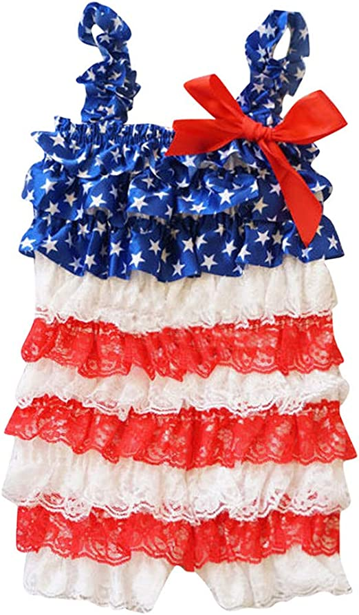 Sameno Infant Baby Boys Girls Ruffle Lace Stars Striped 4th of July Romper Jumpsuit Outfit Clothes