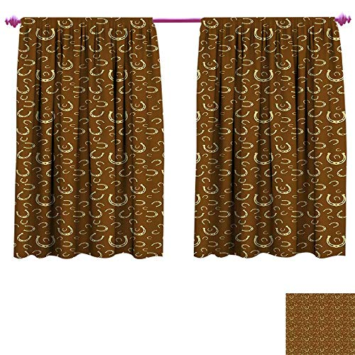 - Western Waterproof Window Curtain Horse Shoe Motif Vintage Pattern with Star Symbol Barn Lucky Charm Design Decorative Curtains for Living Room W96 x L72 Brown Pale Yellow
