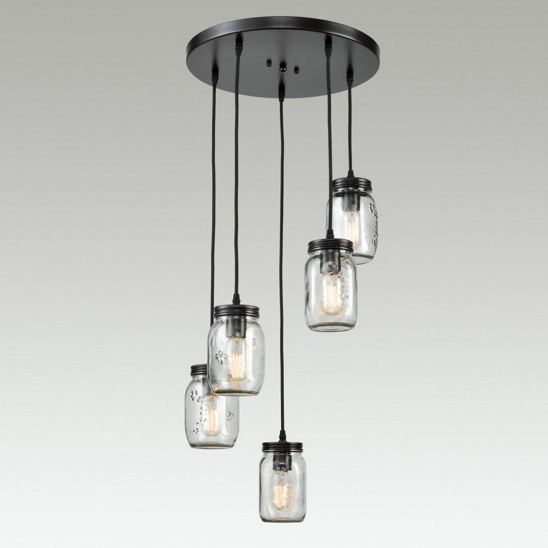 Mason Jar Kitchen Lighting: EUL Mason Jar Kitchen Island Lighting 5-Light Glass Jar