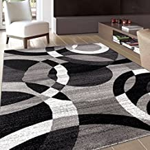 "Rugshop Contemporary Modern Circles Abstract Area Rug, 5'3"" x 7'3"", Gray"