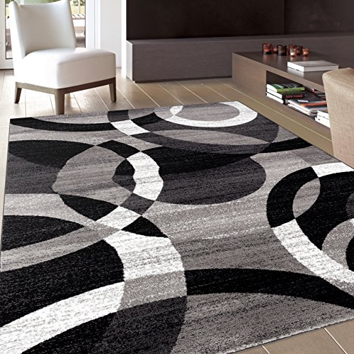 Contemporary Modern Circles Gray Area Rug Abstract 7' 10