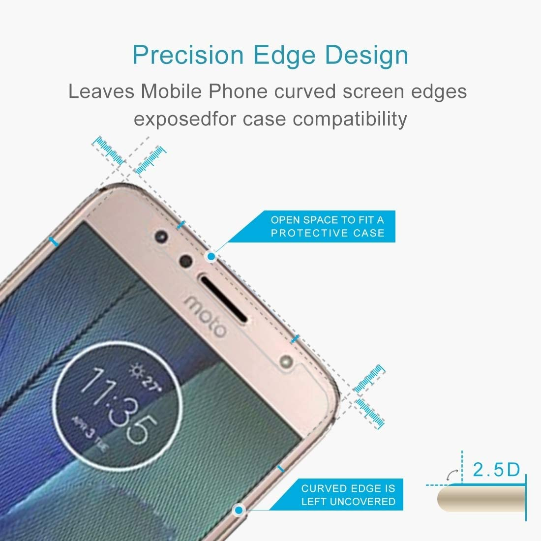 XHC Screen Protector Film 100 PCS for Motorola Moto G5S Plus 0.3mm 9H Surface Hardness 2.5D Explosion-Proof Tempered Glass Non-Full Screen Film Tempered Glass Film
