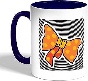 كوب سيراميك للقهوة، لون ازرق، بتصميم فيونكة