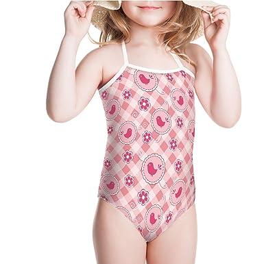 736222c970 Amazon.com  iPrint Swimsuit for Girls Cute Birds Daisy Flower Motifs Floral  Swirls Swimwear  Clothing