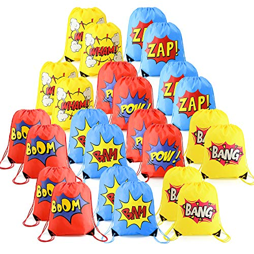 24 Pieces Superhero-Party-Supplies-Favor-Bags-Drawstring Backpacks Cinch Bag Bulk for Kids Girls Boys Birthday Gifts ideas Yellow Blue -