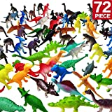 "OuMuaMua Realistic Dinosaur Figure Toys - 72 Pcs 2"" Small Size Plastic Figures Dinosaur Set Party Supplies for Kids and Toddler Education, Including T-rex, Stegosaurus, Monoclonius, etc"