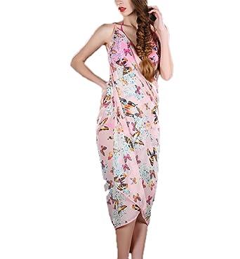 6f66b39602 Women's Floral Sunblock Chiffon Straps Dress,Beach-Towel Bikini Cover-Up  Dresses