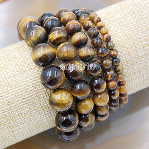 Wholesale Natural Gemstone Beads Stretch Bracelet Healing Reiki 4,6,8,10,12mm (4mm, Tigers Eye)