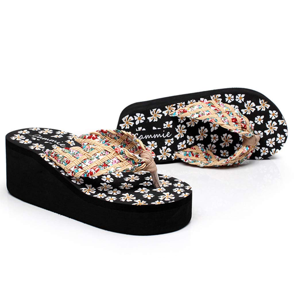 NDGDA Flip Flops Sandals Slippers Beach Shoes Women Wedges Floral Sandals