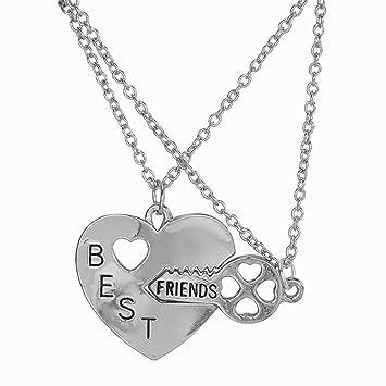 6b02d1247e98 Elegante Rose Best Friends Forever de dos piezas BFF Plata Clave con  colgante de corazón Set Accesorios de la amistad  Amazon.es  Hogar