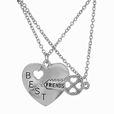 e459a33621 Elegant Rose Two Piece Best Friends Forever BFF Silver Heart Key Pendant  Necklace Set Friendship Accessories: Amazon.co.uk: Jewellery