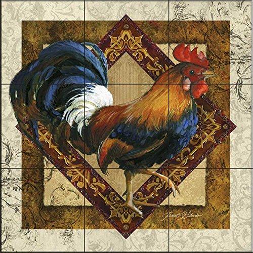 Ceramic Tile Mural - Ruler of The Roost- by Janet Stever - Kitchen backsplash/Bathroom Shower