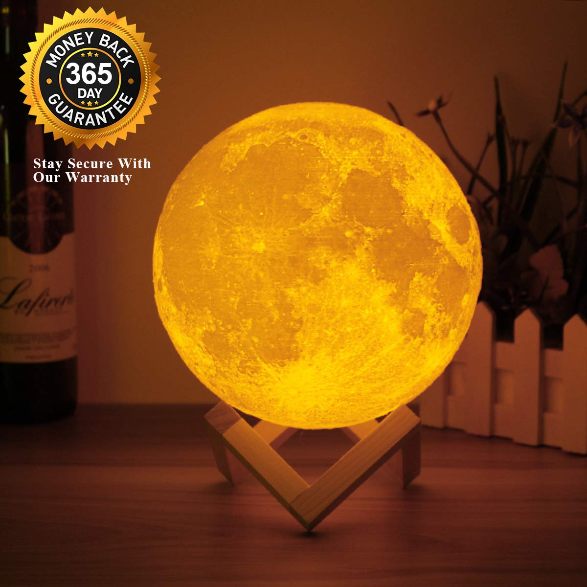 Eguled Moon Lamp Adjustable Brightness and Warm White/Cool White Color, USB Charging Cable. Romantic Moon Light Will Birthday Gifts for Women, Men, Kids, Child, and Baby by Eguled