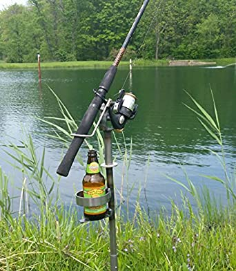 Adjustable Swivel Fishing Rod Pole Stand with Cup Holder- Made in USA