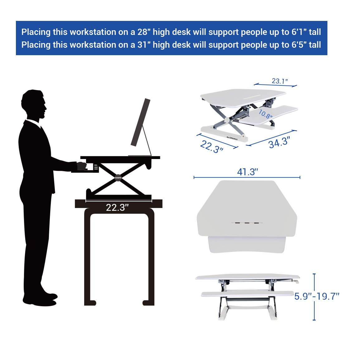 FlexiSpot 41 Standing Desk Converter with Quick Release Keyboard Tray Computer Desk,White M4W