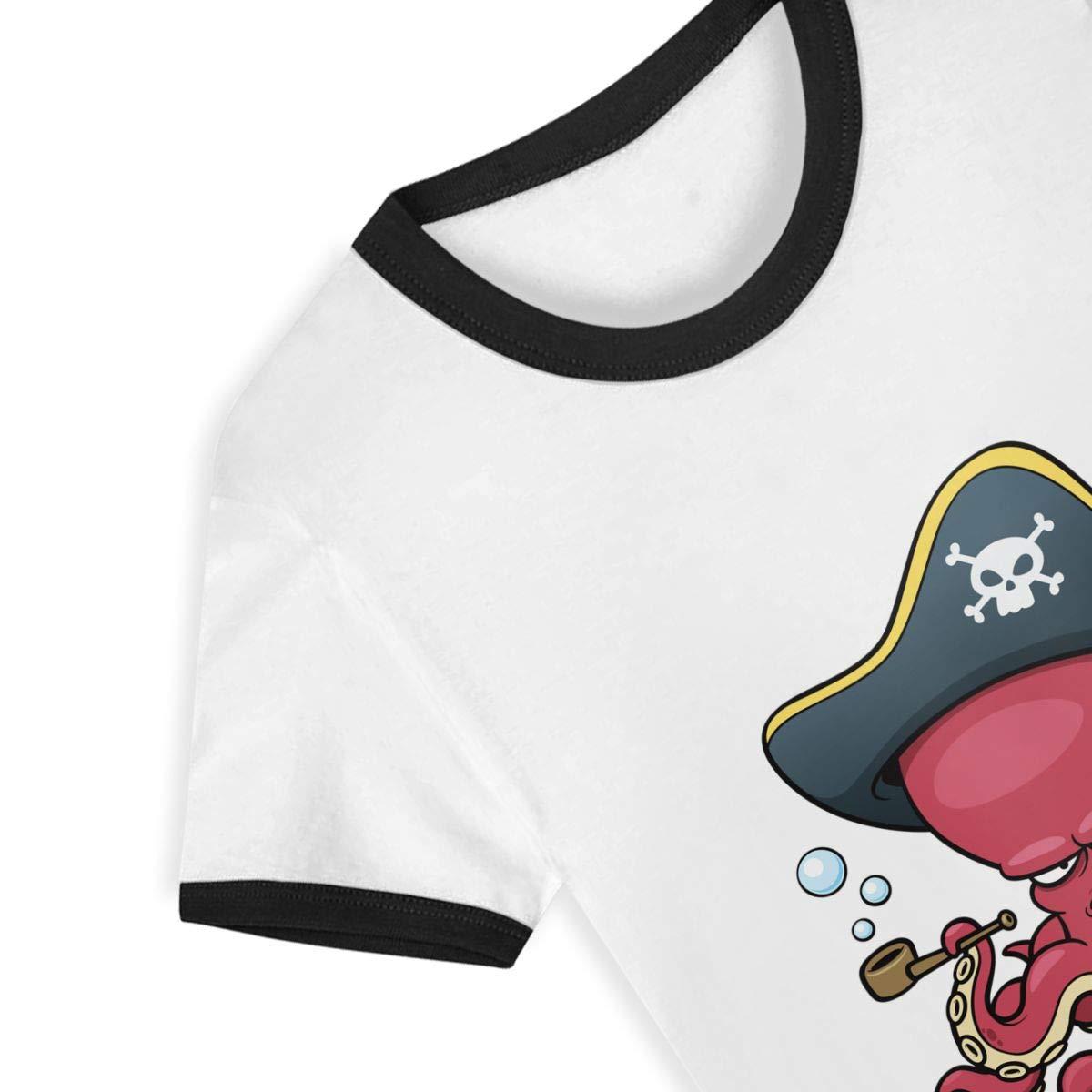 Gomop Cartoon Octopus Pirate Summer Basic Tees-Youth Short Sleeve Tee Short T Shirts