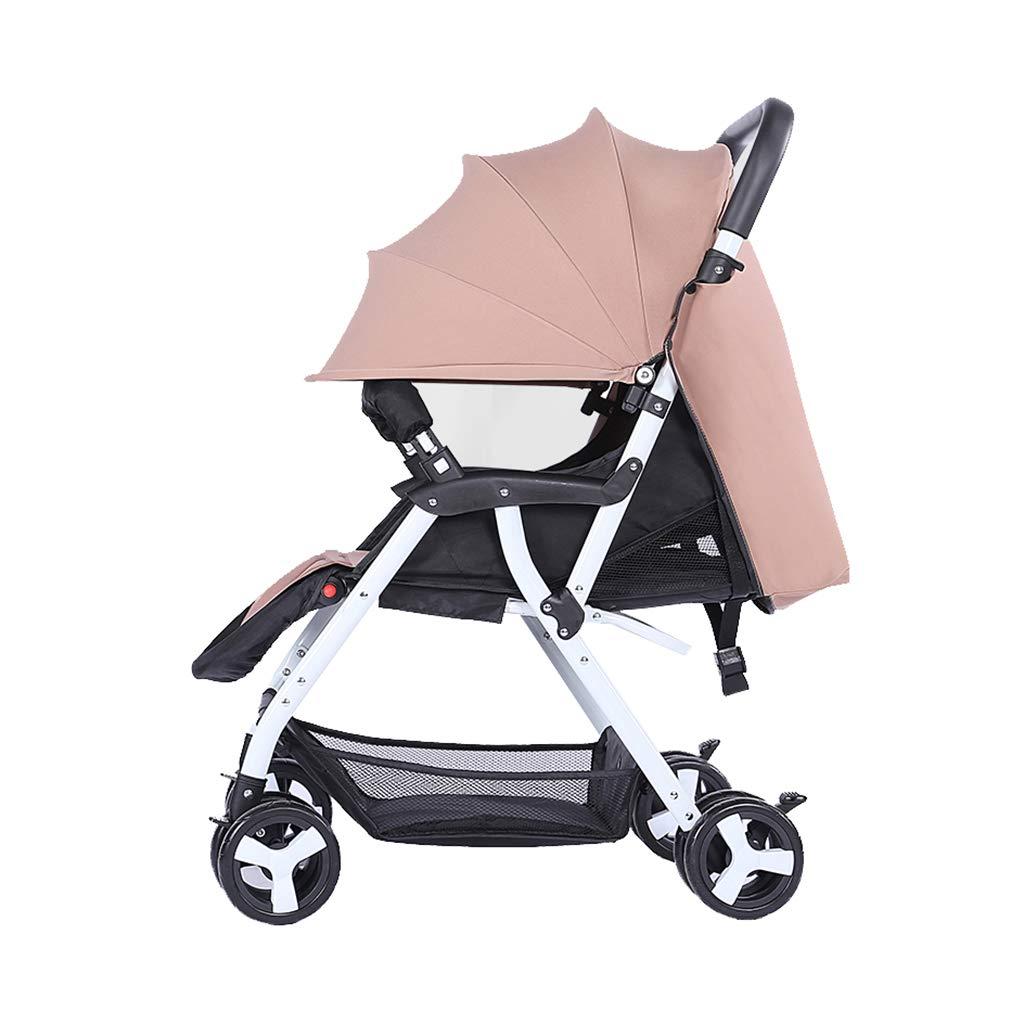 ZCY Pushchair, Infant Newborn Pram Baby Stroller Shock-Resistant Luxury Baby Bassinet Toddler Seat Combo (Color : Beige)