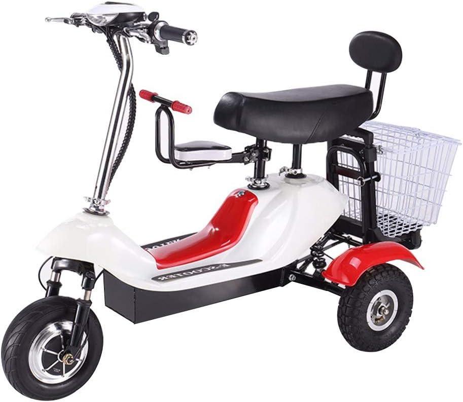 EmbLd Mini Triciclo eléctrico Plegable, Scooter eléctrico para Adultos, portátil de Litio para Damas, batería de 48V, Puede durar 30 km