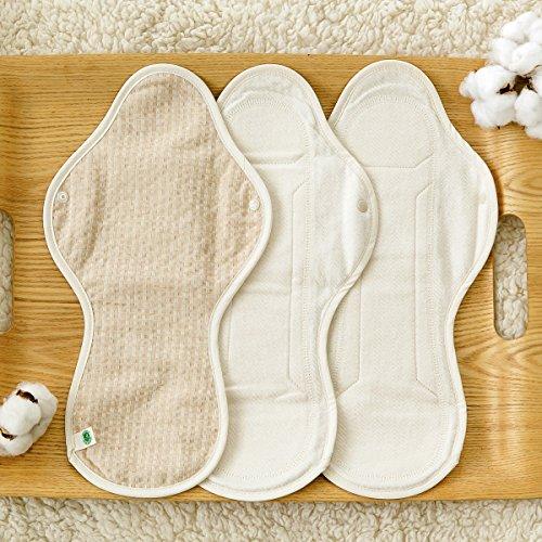 THINKECO [5 Pads] Organic-Hanji Reusable Menstrual Cotton Pads, Sanitary Napkins (XL) by THINKECO (Image #2)