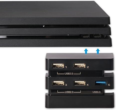 Konky PS4 Pro USB adaptador hub de extensión alta velocidad, 5 ...