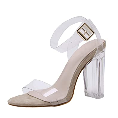 d5dd9e3908 Harshiono Womens Pvc Clear Transparent Party Open Toe Lucite Chunky Heel  Ankle Strap Block Heel Sandals