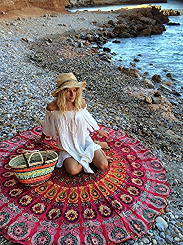 Round Tapestry Hippie Gypsy Mandala Indian Boho Cotton Table Cloth Beach Towel Round meditation yoga mat by HIPISTRY HUB (red)