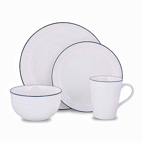 62814a72dcfb Image Unavailable. Image not available for. Color: Kendal Porcelain  Dinnerware Set with Blue-trim, 4-piece Dinner Set, Service