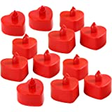 12pcs LED Electronic Candle Lamp Heart Shape Candle Lights Flameless Tealight Romantic Party Decor (Red Shell, Red Light…