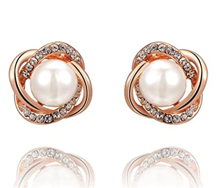 a0b509938 Image Unavailable. Image not available for. Color: Flowers Rose Gold Pearl  Earrings