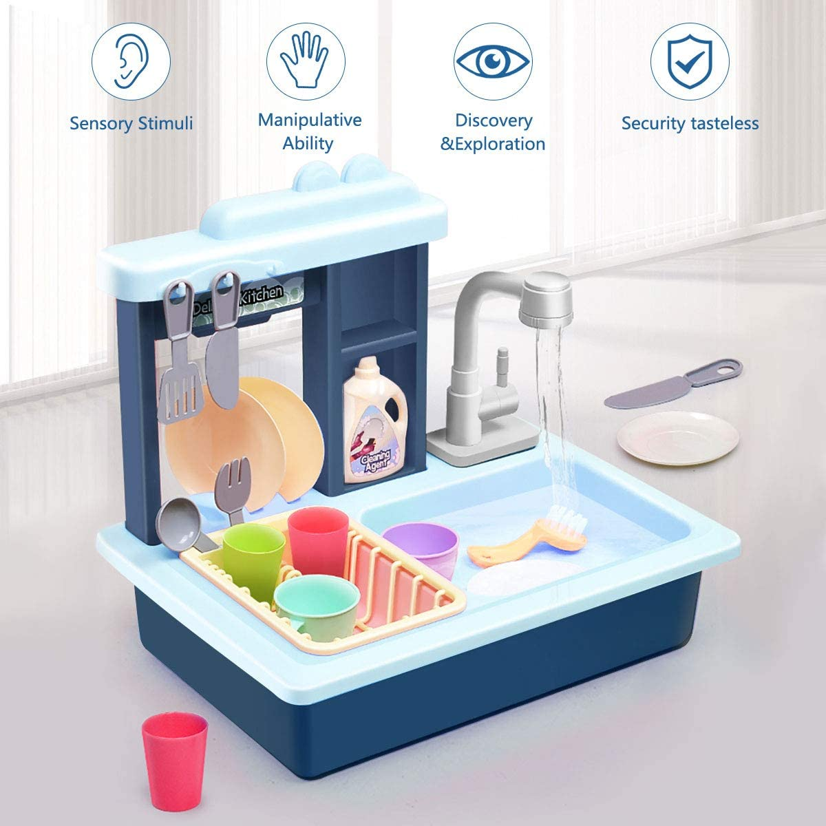 Kids Kitchen Play Sink Dishes Toys, Electric Dishwasher Playing Sink Toy with Running Water Play House Pretend Role Play Kitchens Set Toys for Boys Girls Toddlers - Childrens Kitchen Helper Playsets