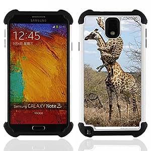 /Skull Market/ - Giraffe Cute Cartoon For Samsung Galaxy Note3 N9000 N9008V N9009 - 3in1 h????brido prueba de choques de impacto resistente goma Combo pesada cubierta de la caja protec -