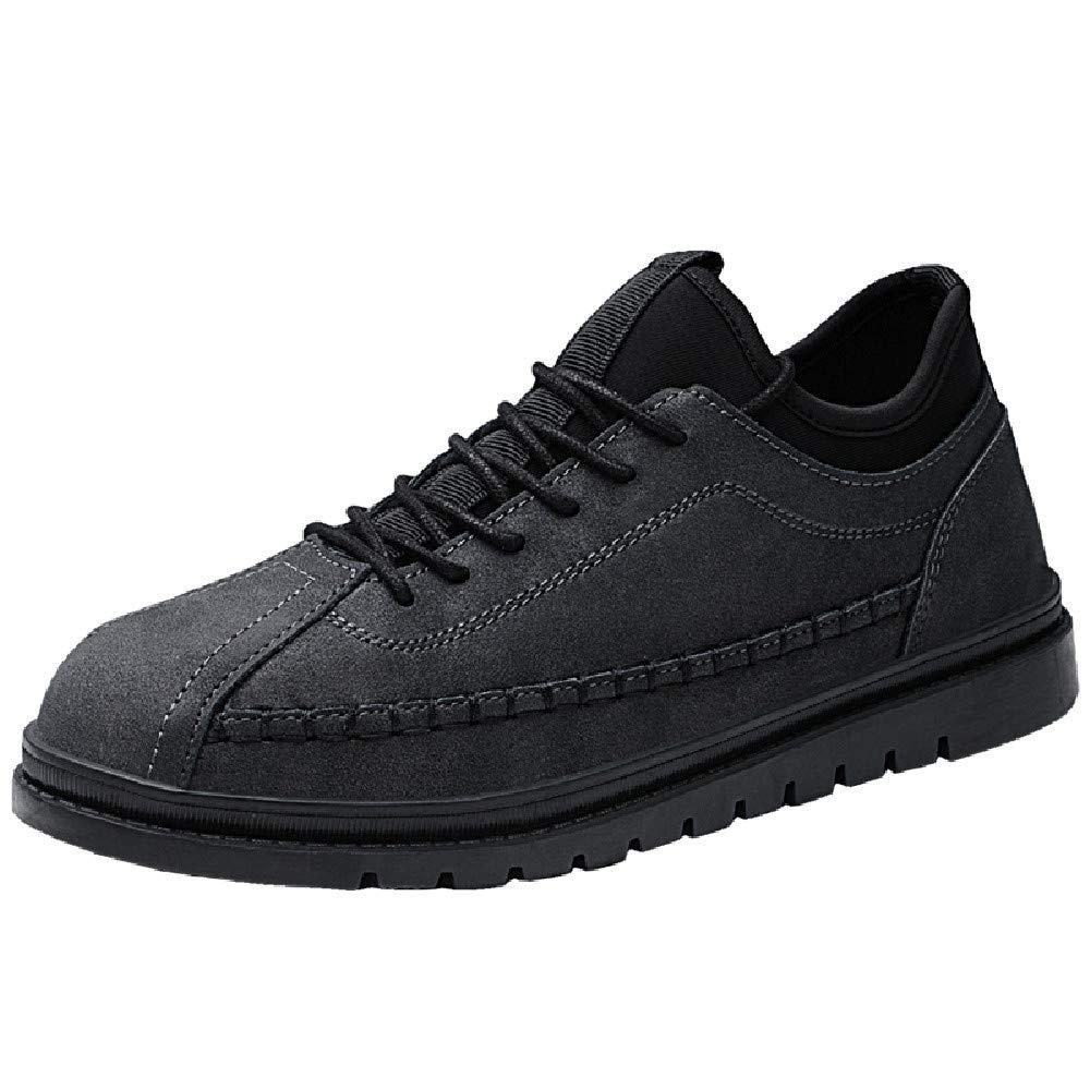 Mysky Fashion Men Vintage Popular Patchwork Flat Single Shoes Men Classic Pure Color Lace Up Outdoor Sport Shoes