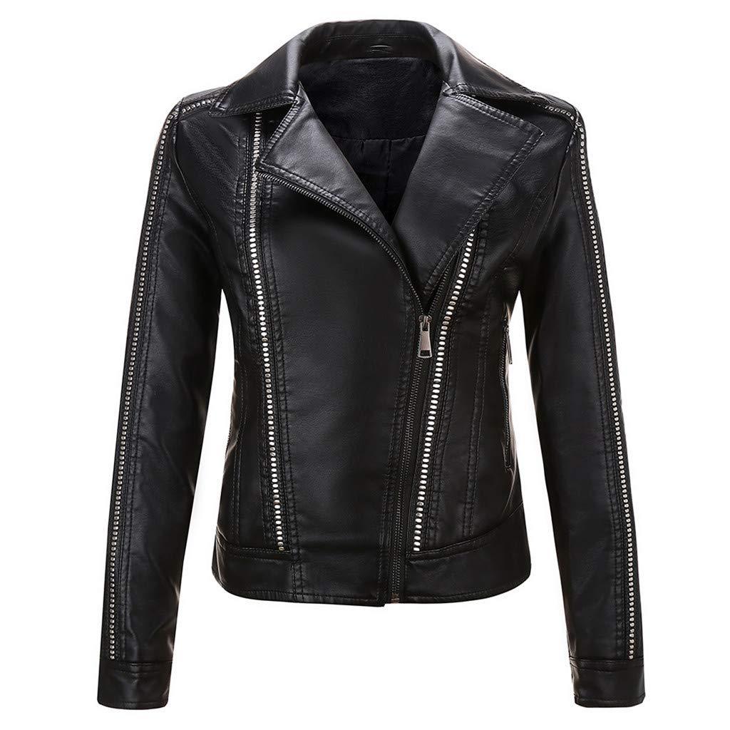 Allywit- Women Slim Faux Leather PU Short Jacket Side Zip Coat Moto Biker Motorcycle Jacket Coat Black by Allywit- Women