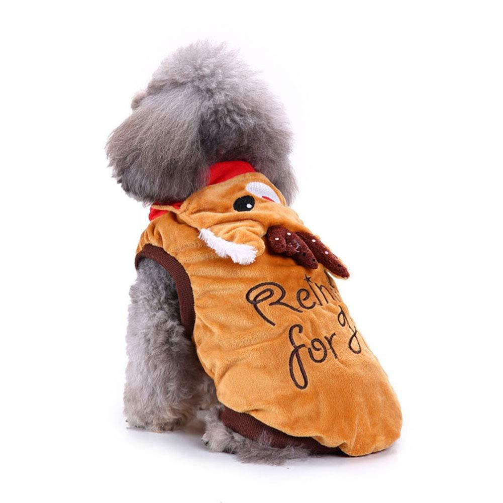 Cutogain Flocon de Neige de Noël pour Animal Domestique Vêtements Pull pour Chien Puppy Hiver Chaud Polyester pour s'adapter pour Animal Domestique Accessoire de Fournitures, Embroidered Elk, XS