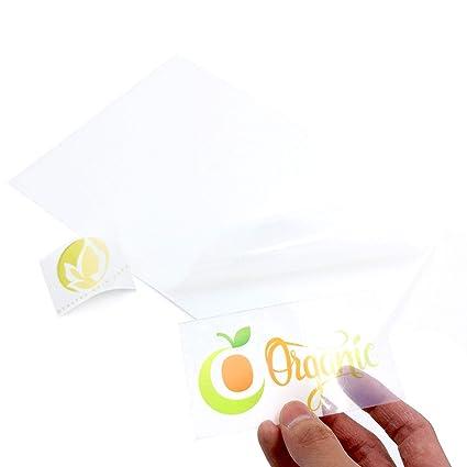 100 hojas de vinilo autoadhesivo A4 imprimible por inyección de ...