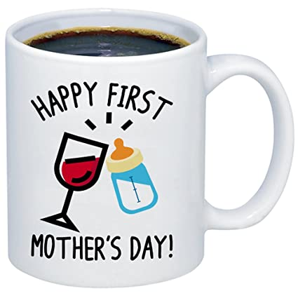 Amazon.com: MyCozyCups New Mom Gift - Happy First Mother\'s Day ...