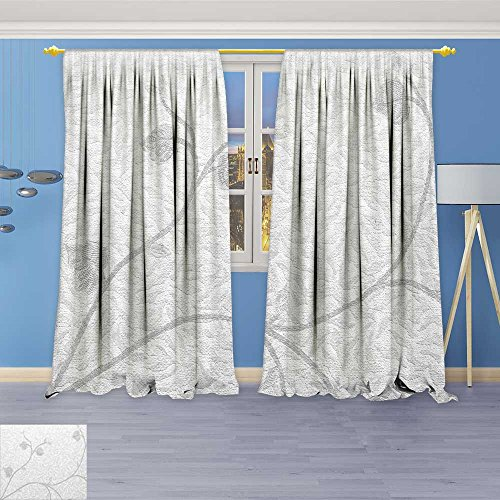 Linen Faux Texture Wallpaper - SOCOMIMI 6577 Panel Curtains Wallpaper Flowers Texture Background Linen Window Curtains Grommet Top 84W x 72L inch
