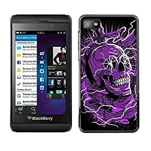 Paccase / SLIM PC / Aliminium Casa Carcasa Funda Case Cover - Skull Purple Black Death Electric Dead - Blackberry Z10
