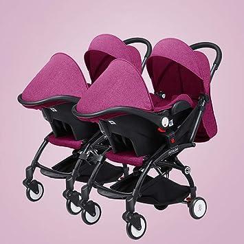 BABY CARRIAGE ZLMI Twin bebé Cochecito Ligero Plegable portátil Plegable Cesta BB Coche Puede Sentarse/