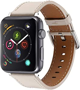 Faytop for Apple iWatch Band 38mm 40mm Series 5/4/3/2/1 Women & Men's Genuine Leather Watch Strap for Apple Watch Series 5/4(40mm) Series 3/2/1(38mm) Beige White